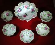 Antique Nippon Hand Painted Footed Berry Bowl Set With Pink And Purple Rose Design
