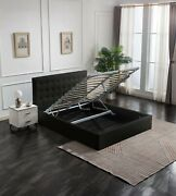 Greatime Contemporary Leatherette Storage Bed With Modern Tufted Headboardblack