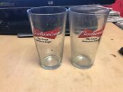 Budweiser Salutes Glassware Drinking Glass Cup Lot Of 2 The Great American Lage