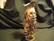 1976 ART POTTERY VASE HANDMADE UNKNOWN ARTIST,GAUNT FACES INDIAN? FEATHERS+BEADS