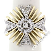 Vintage 14k Two Tone Gold 1.25ctw Brilliant Diamond Large Flared Cocktail Ring
