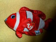 2001 Tush Tag Ty Beanie Baby Jester Red White Clown Fish Retired Dob 2000