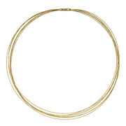 18 Kt Yellow Gold 7 Strand Gold Cable Wire Necklace Bayonet Clasp New 16 New