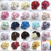 1,3,6 Or 12 Large 3d Sugar Roses White Red Pink Blue Purple Gold 55mmnonwired