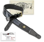 Walker And Williams Ge-177 Black Armadillo Padded Strap Brass Buckle And Conchos