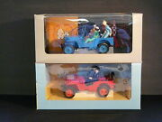 Very Rare Set Of 2 Large Tintin Vintage Hapax Jeeps Red And Blue Hergandeacute 1994