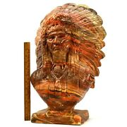 Vintage Indian Chief Bust-head Statue Mission Swirl Layered Clay And Resin 36 Lbs