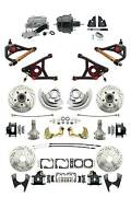1964-72 A-body Front And Rear Black Disc Brake 8 Booster And Control Arms 2 Drop