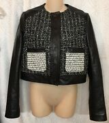 Proenza Schooler Jacket Black/ White Leather Tweed Front Woven Nwt 6500 2