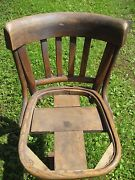 Antique Wooden Swivel Ice Cream Parlor Chairs, Quantity Of 5.