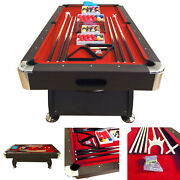 8and039 Feet Billiard Pool Table Snooker Full Set Accessories Game Mod. Vintage Red 8