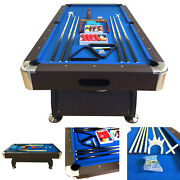 8and039 Feet Billiard Pool Table Snooker Full Set Accessories Game Vintage Blue 8ft