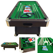 8and039 Feet Billiard Pool Table Snooker Full Set Accessories Game Vintage Green 8ft