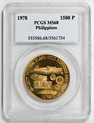 1978 Gold Philippine 1500 Piso Pcgs Ms68 - Mintage 3000