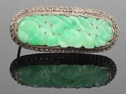 Antique Chinese Carved Moss In Snow Natural Jadeite Jade Sterling Brooch 6.7g