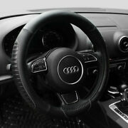 15andrsquoandrsquo Pu Leather Car Steering Wheel Cover Sedan Black Universal Fit Protection