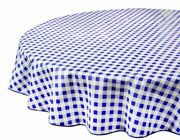 Vinyl Tablecloth Round Tablecloths Plastic Indoor Outdoor Blue Checkered 60