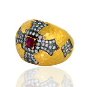 Pave Diamond And Ruby Religious Cross Dome Ring 18k Gold Jewelry