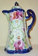 Nippon Cobalt Tea Coffee Pot Pitcher Hand Painted Roses Beads Antique Japanese