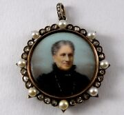 Antique Pendant In 18k Gold And Silver With Diamond Pearl And Porcelain Portrait