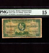 Bermuda 10 Shillings 1937 P-9 Pmg F 15 Very Rare In Green King George