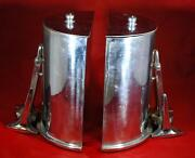 Vintage Pair Of Heavy Nautical Chrome Artillery Shell Bookends With Lids
