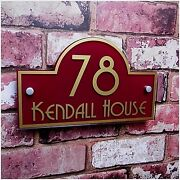 House Sign Name Address Plaque Door Numbers Quality Glass Effect 'bridge' Shape