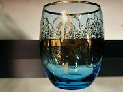 Vecchia Murano With Certification Glass,handmade Blue/24 Karat Gold 3 Available
