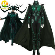 Thor Ragnarok Hela Cosplay Costume Bodysuit With Cape Women Outfit Any Size