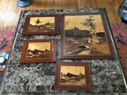 Vintage Estate Set Of Four Wooden Inlay Pictures From Poland Signed