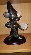 Extremely Rare Disney Mickey Mouse Fantasia Holding Glass Globe Bronze Statue