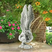 Angel Garden Statue Outdoor Yard Decor Crying In Memory Grave Praying 15 In High