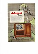Vintage 1951 Admiral Console Wooden Cabinet Television Pretty Lady Ad Print