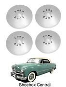 1949 1950 Ford Shoebox Stainless Hubcaps Set Of Four New