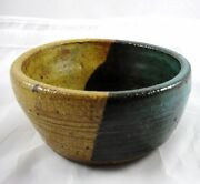 """Handcrafted Studio Pottery Small Bowl Teal Tan Design Signed KW 5 1/4"""" Across"""