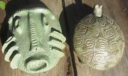 2 Early Signed Vintage Sixties Mid Century Modern Studio Art Pottery Sculptures