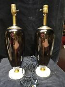 Rare Pair Of Vintage Art Deco Mid Century Murano Glass Italy Table Lamps