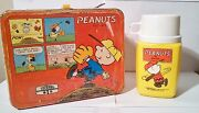 Vintage Peanuts Collectible Metal Lunchbox With Thermos