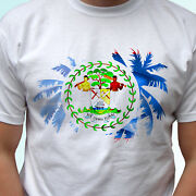 Belize Palm Flag - White T Shirt Holiday Top Design Mens Womens Kids Baby Sizes