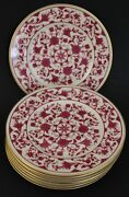 8 Pc Mcm Franciscan Lorraine Maroon Porcelain 6 1/4 Bread And Butter Plate Set