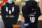 Lionel Messi Barcelona Pullover Hoodie Black Front And Back