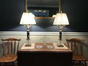 Antique Black Wedgwood Jasperware Lamps With Crystal And Brass Base.
