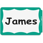 2000 - Name Badges - Peel And Stick Green Border Tags Labels Sticker Adhesive Id