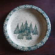 """Plate Candleholder THREE RIVERS POTTERY Winter Pines Tan  Green Trees 5 3/4"""""""