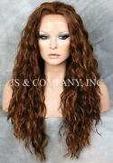 Human Hair Blend Heat Ok Full Lace Front Wig Wavy Long Ngft Brown Mix 4/27/30