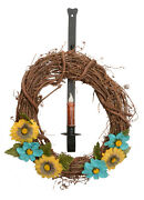 Wreath Hook And Candle Holder - Wall Mount Wrought Iron Holiday Decor Amish Usa