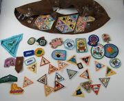 55 Vintage Girl Scout / Brownie Badges / Patches Triangle, Etc