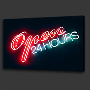 Open 24 Hours Neon Sign Pub Bar Light Box Canvas Print Wall Art Picture Photo