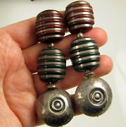 Modernist Signed Sterling Silver Chunky Brick Green Lucite Long Clip On Earrings