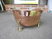 """Copper 6"""" Colander/Strainer  ODI 7 with Brass Handles and Feet  India"""
